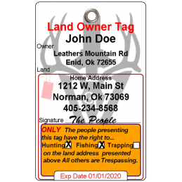 Land Owner Tag #hunttag #ohiolandtag